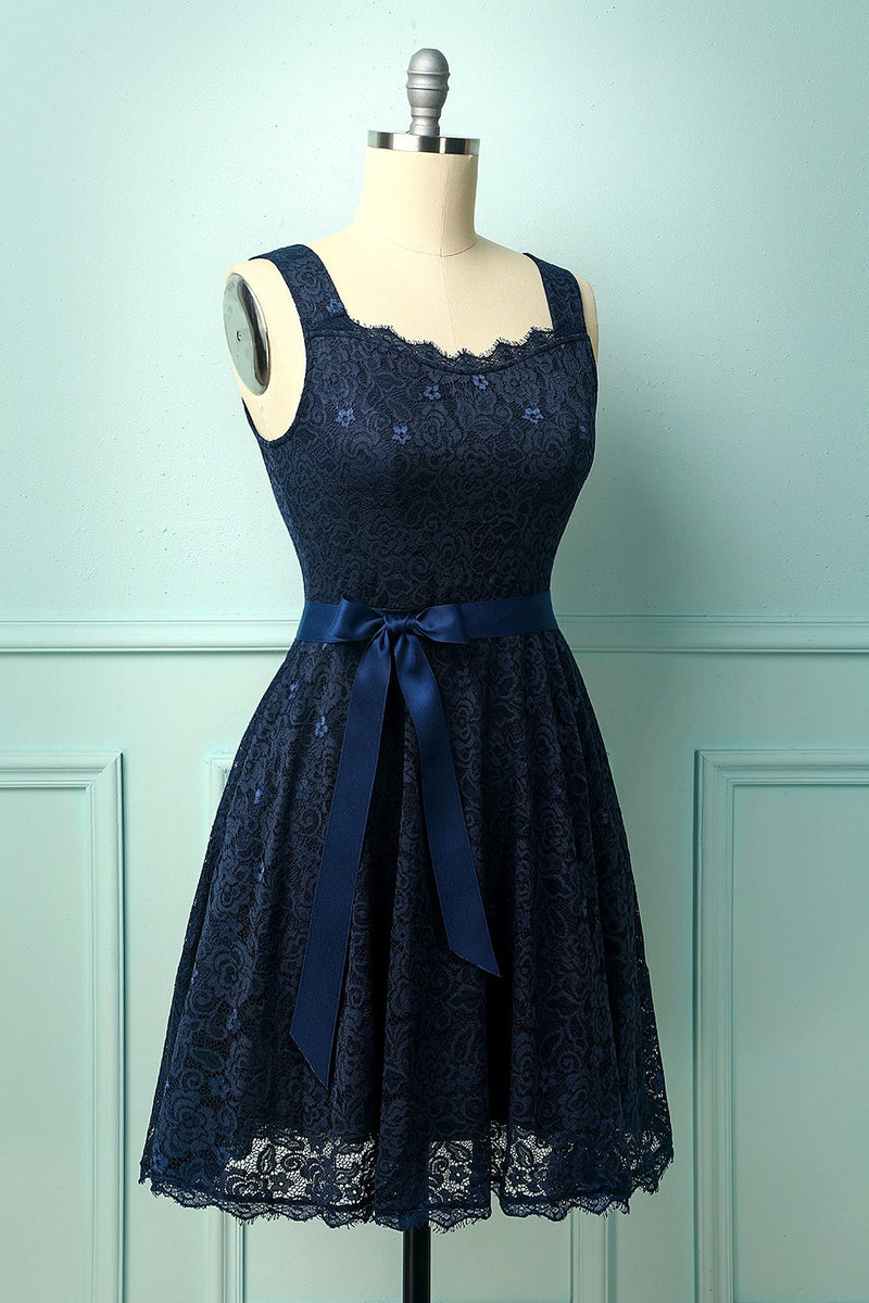 Load image into Gallery viewer, Navy Sleeveless Lace Dress