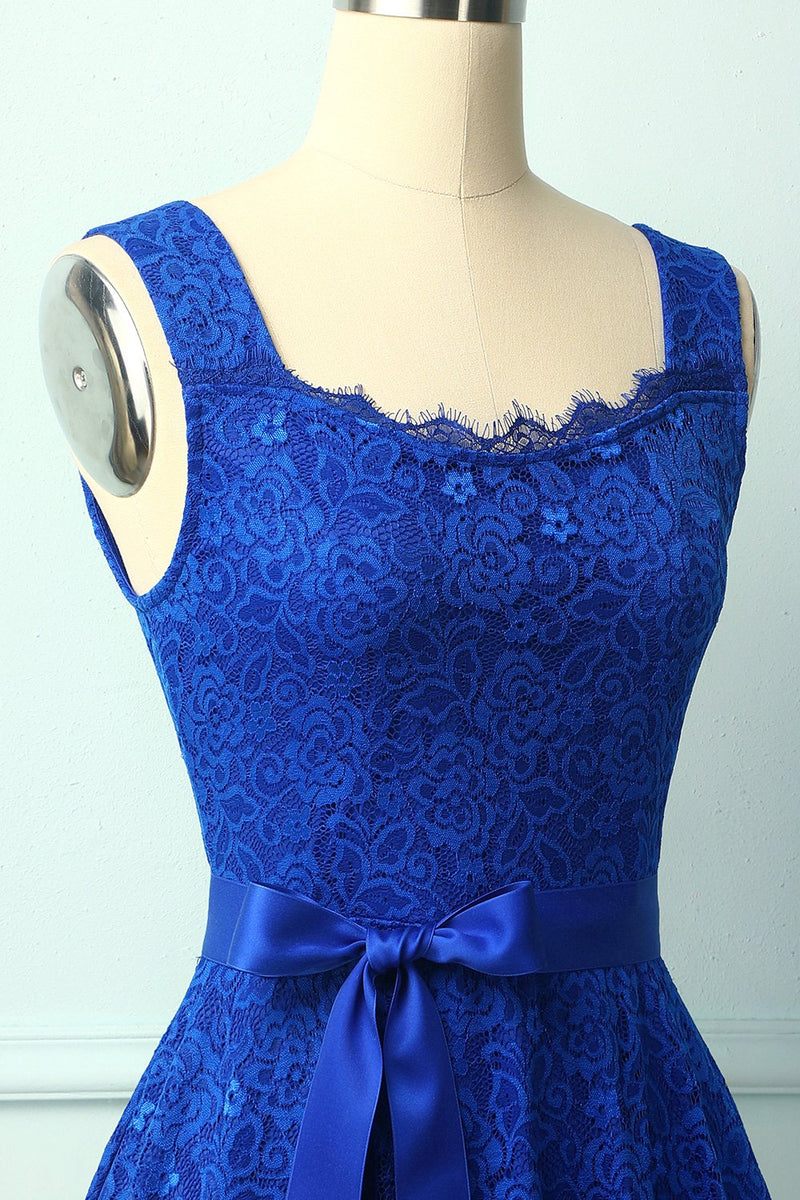Load image into Gallery viewer, Royal Blue Sleeveless Lace Dress