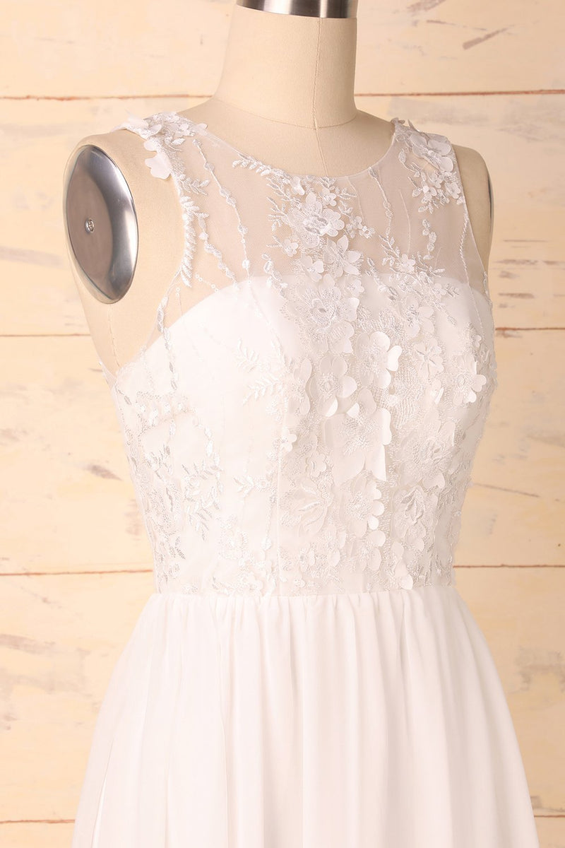 Load image into Gallery viewer, White Appliques Homecoming Dress