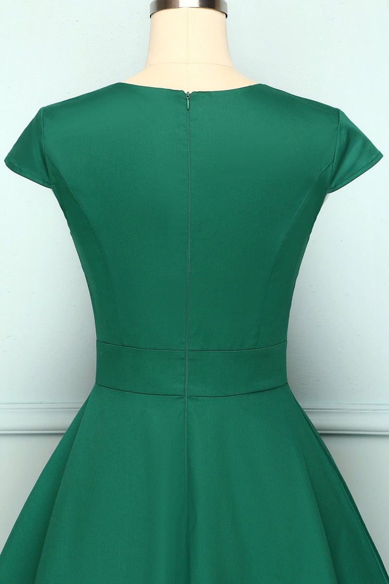 Load image into Gallery viewer, Green Asymmetrical Neck Vintage Dress