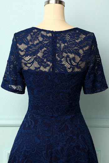 Navy Bridesmaid Lace Dress