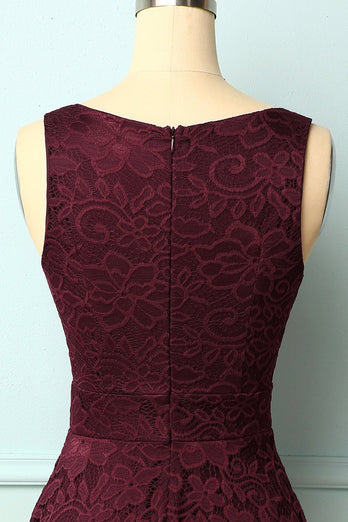 Burgundy V-Neck Lace Dress