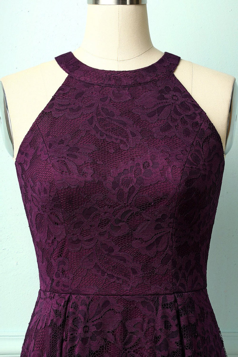 Load image into Gallery viewer, Grape Halter Lace Dress