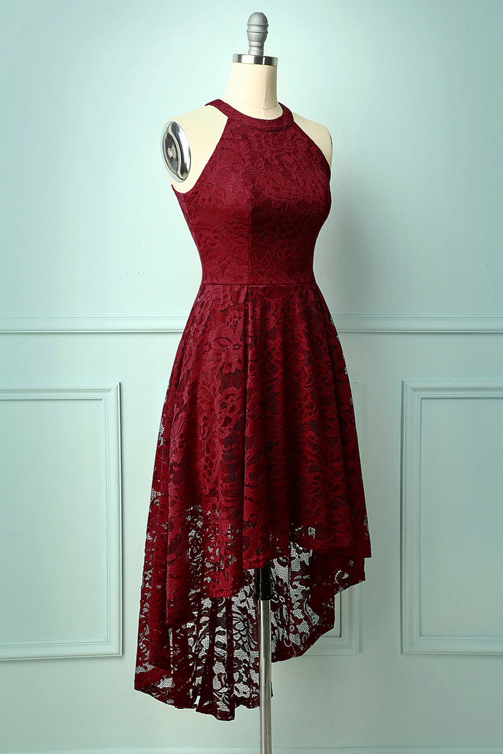 Burgundy Red Lace Dress