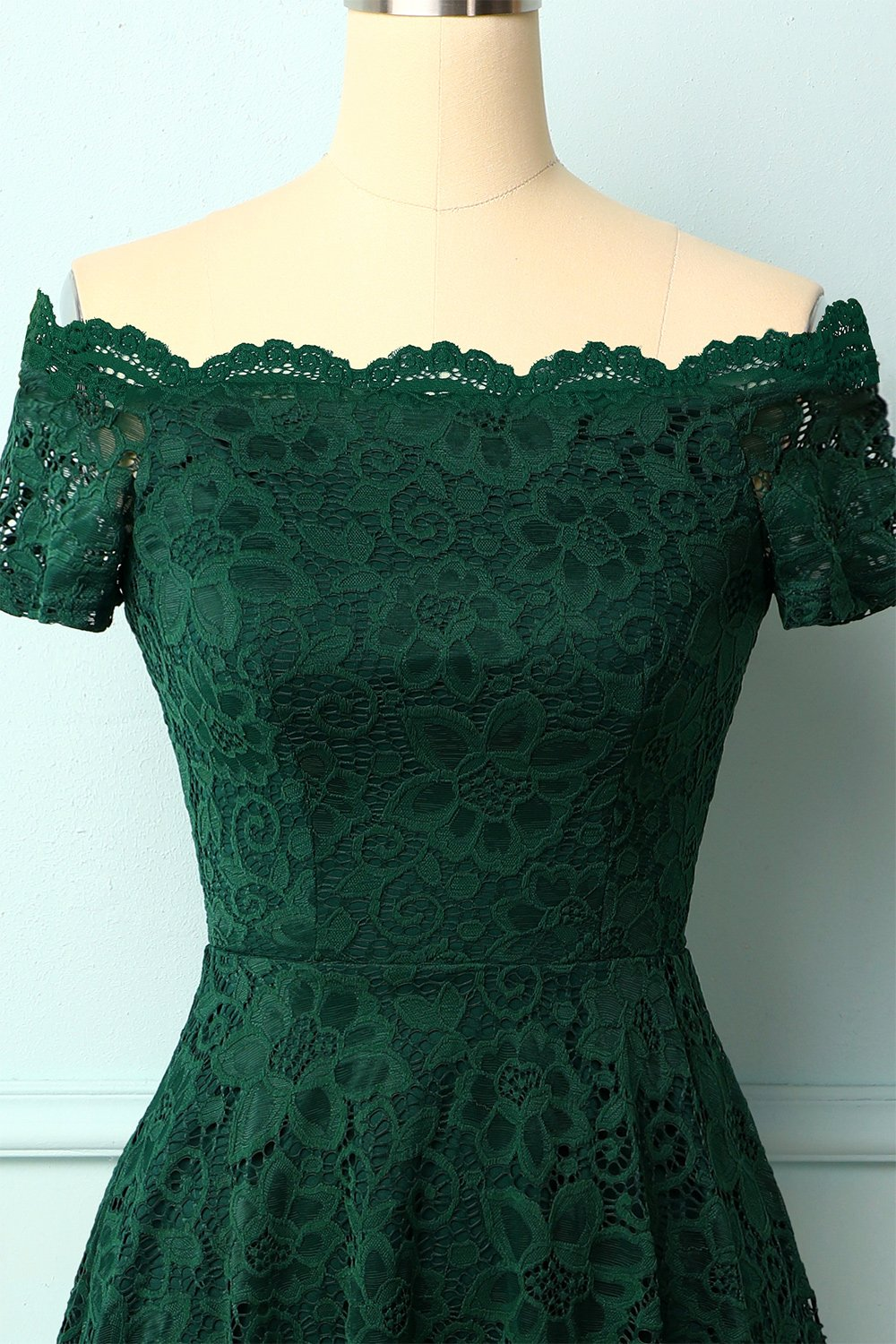 Dark Green Off the Shoulder Dress