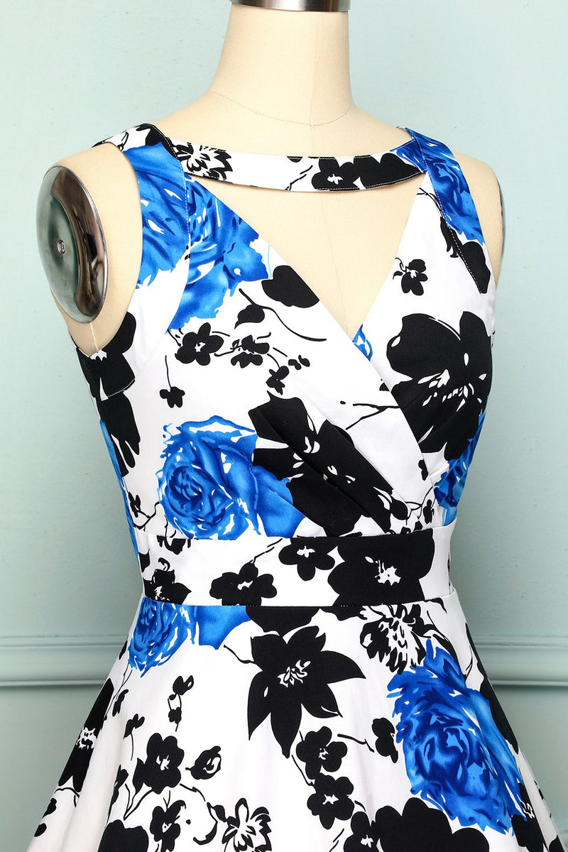 Load image into Gallery viewer, 1950s V Neck Floral Dress