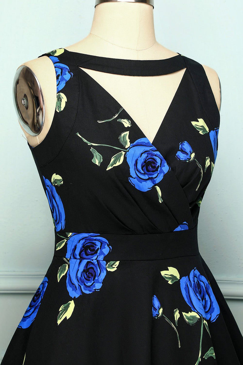 Load image into Gallery viewer, V-Neck 1950s Floral Dress