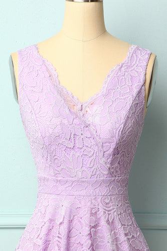 Lavender V-Neck Lace Dress