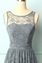 Load image into Gallery viewer, Grey Floral Lace Long Dress
