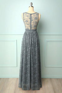 Grey Floral Lace Long Dress