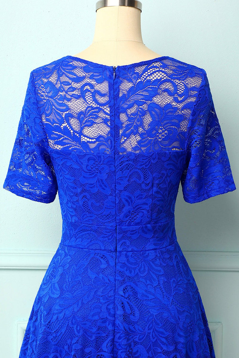 Load image into Gallery viewer, Royal Blue Bridesmaid Lace Dress
