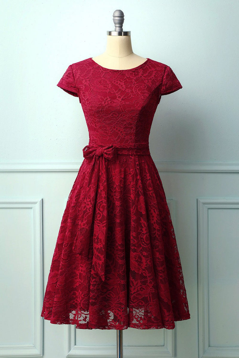Load image into Gallery viewer, Dark Red Lace Midi Dress