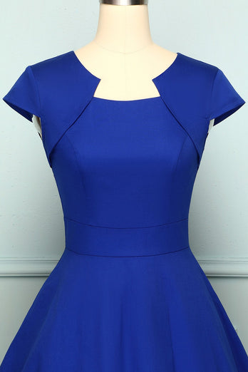 Royal Blue Asymmetrical Neck 50s Dress