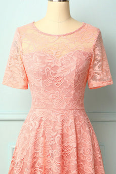 Pink Midi Lace Bridesmaid Dress