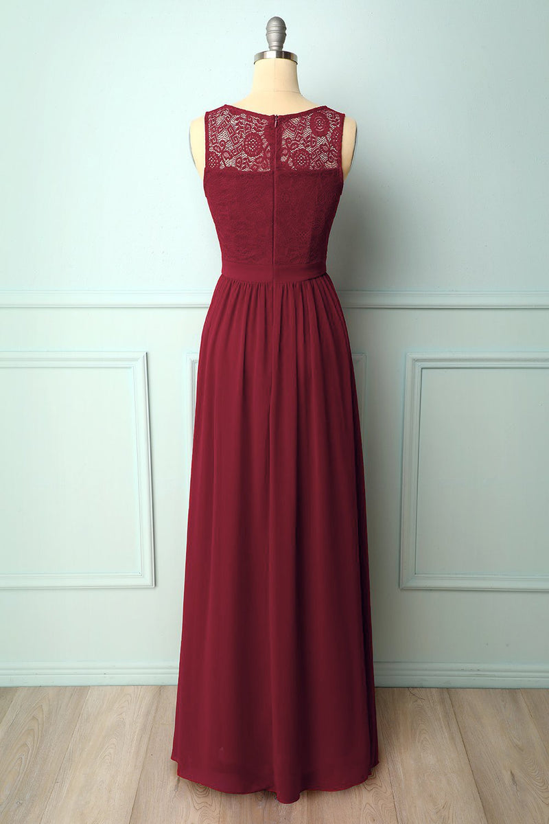 Load image into Gallery viewer, Burgundy Lace Formal Long Dress