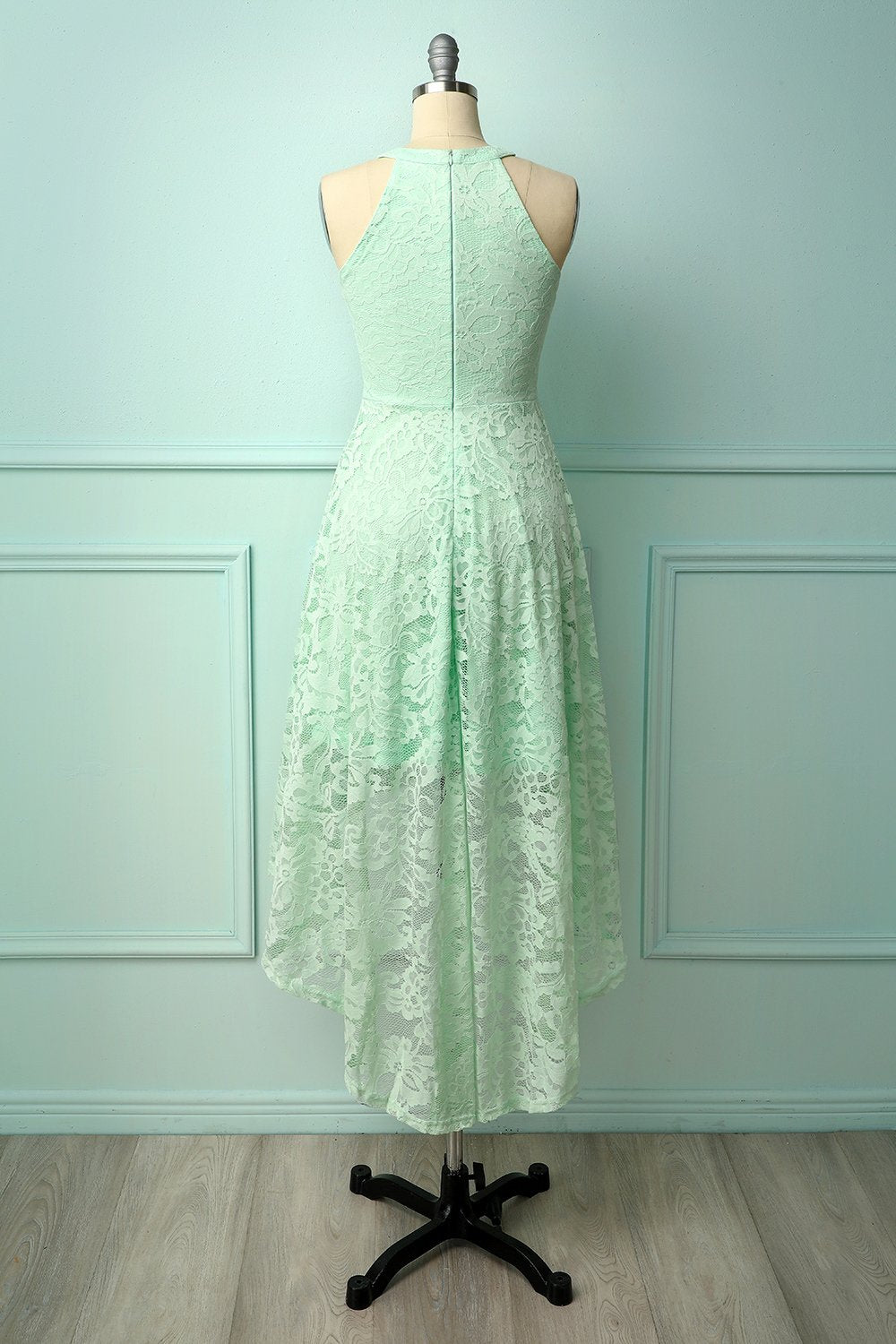 Asymmetric Mint Lace Dress