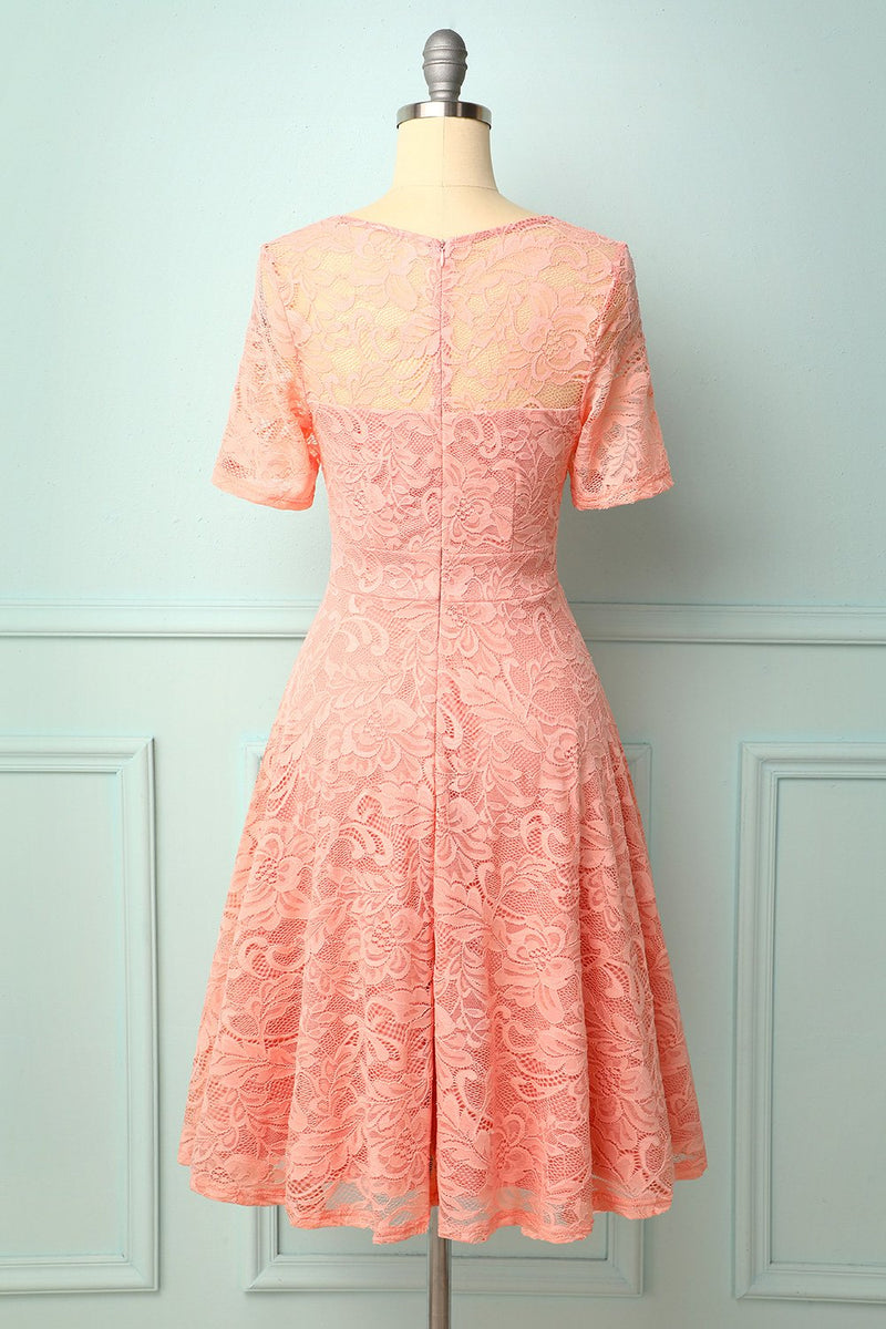 Load image into Gallery viewer, Pink Midi Lace Bridesmaid Dress