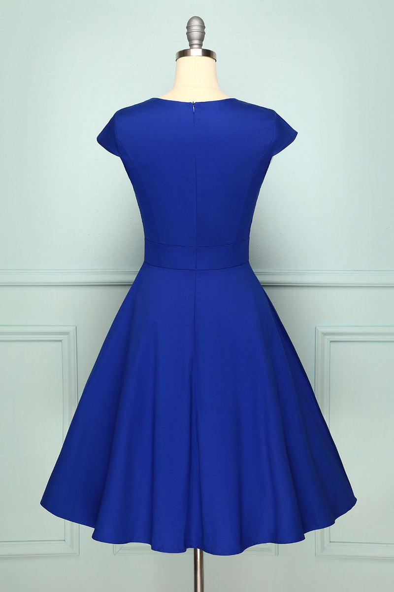 Load image into Gallery viewer, Royal Blue Asymmetrical Neck 50s Dress