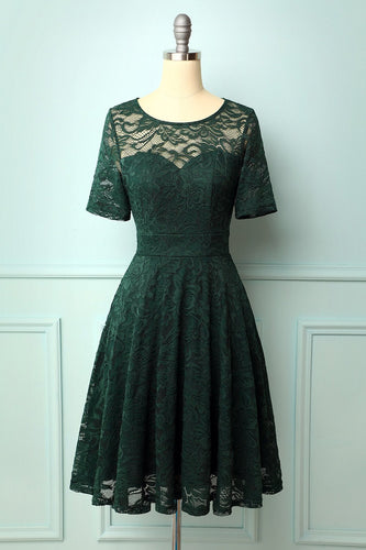 Dark Green Bridesmaid Lace Dress