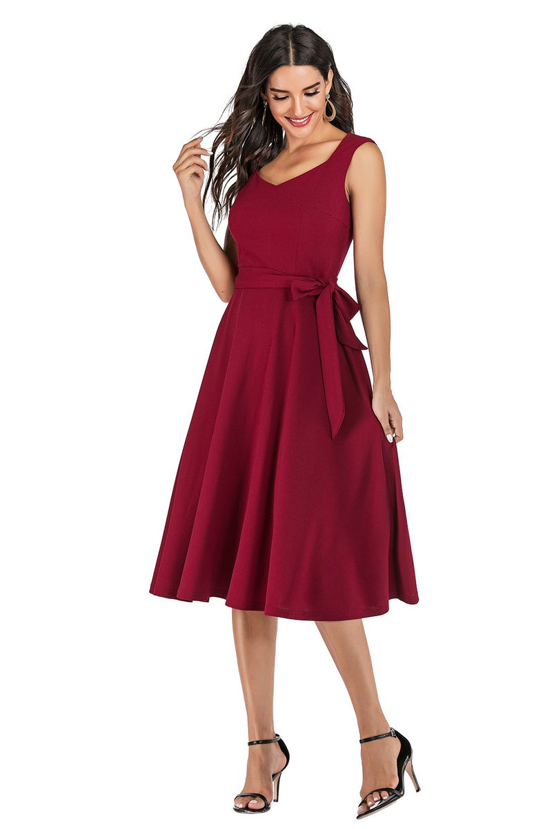 Load image into Gallery viewer, Burgundy Solid Dress