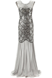 Long 1920s Sequin Dresses Silver