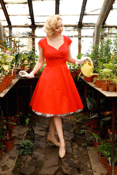 Red V Neck Swing Vintage Dress