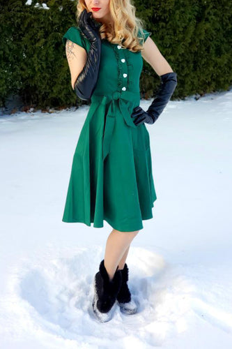 Lapel Collar Swing Dress