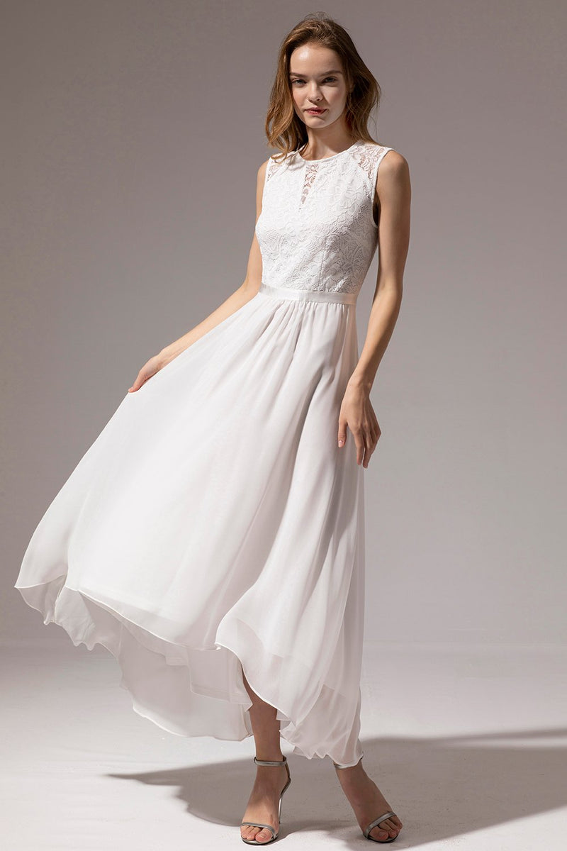 Load image into Gallery viewer, White Long Chiffon Dress