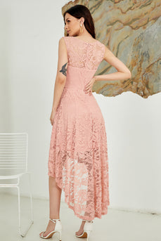 Asymmetrical Blush Lace Dress