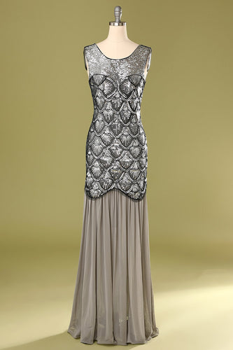 Grey 1920s Sequined Flapper Dress