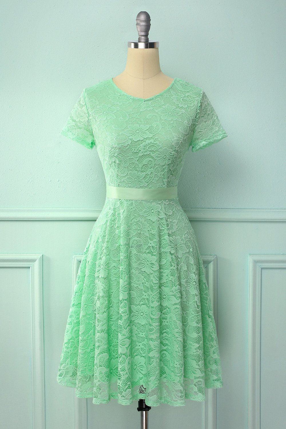 Mint Green Short Sleeves Lace Dress