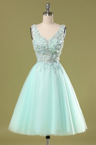 Mint Green Short Prom Dress With Appliques
