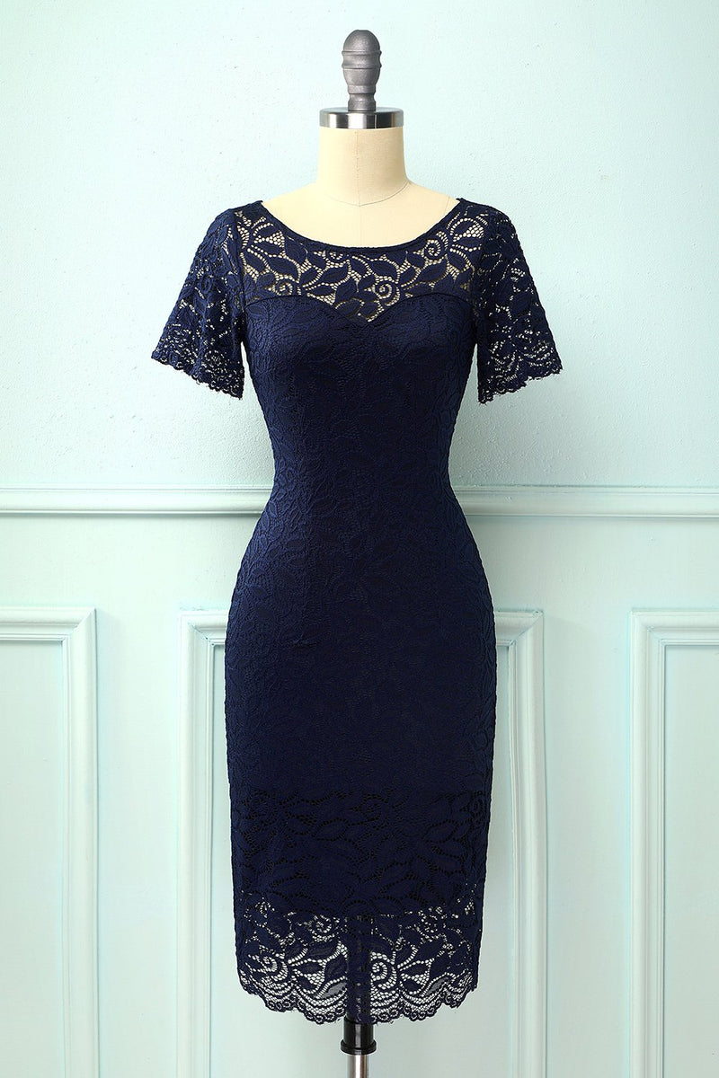 Load image into Gallery viewer, Navy Bodycon Lace Dress