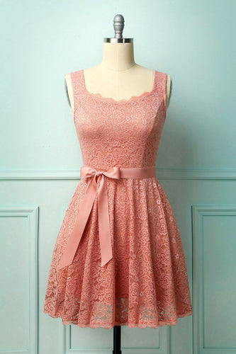 Pink Sleeveless Lace Dress