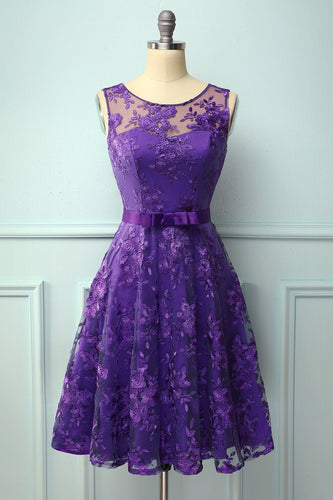 Purple Lace Dress with Bow