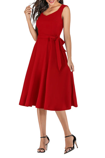Red Sash Homecoming Dress