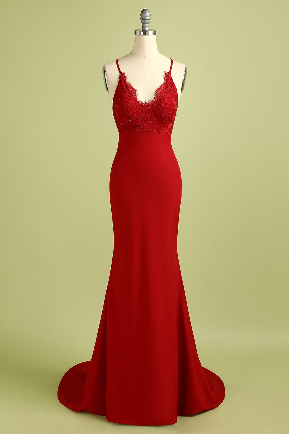 Red Mermaid Open Back Prom Bridesmaid Dress