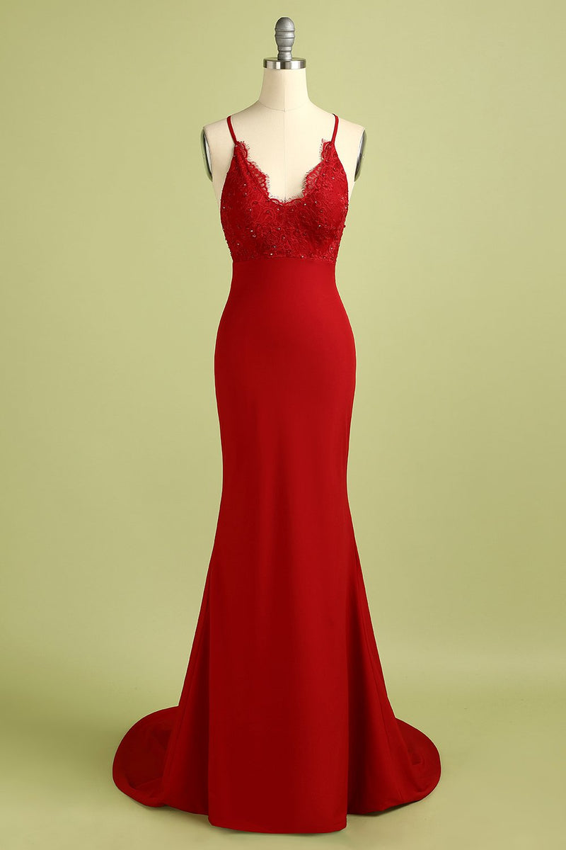 Load image into Gallery viewer, Red Mermaid Open Back Prom Bridesmaid Dress