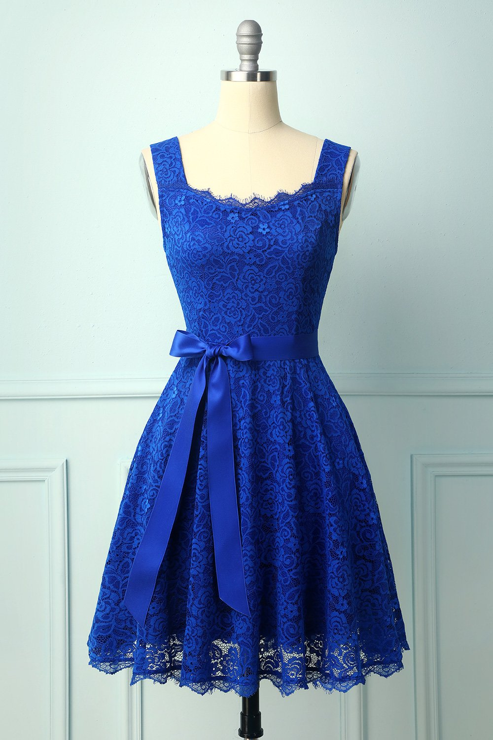 Royal Blue Sleeveless Lace Dress