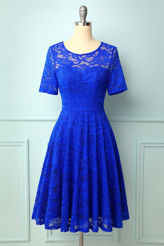 Royal Blue Bridesmaid Lace Dress