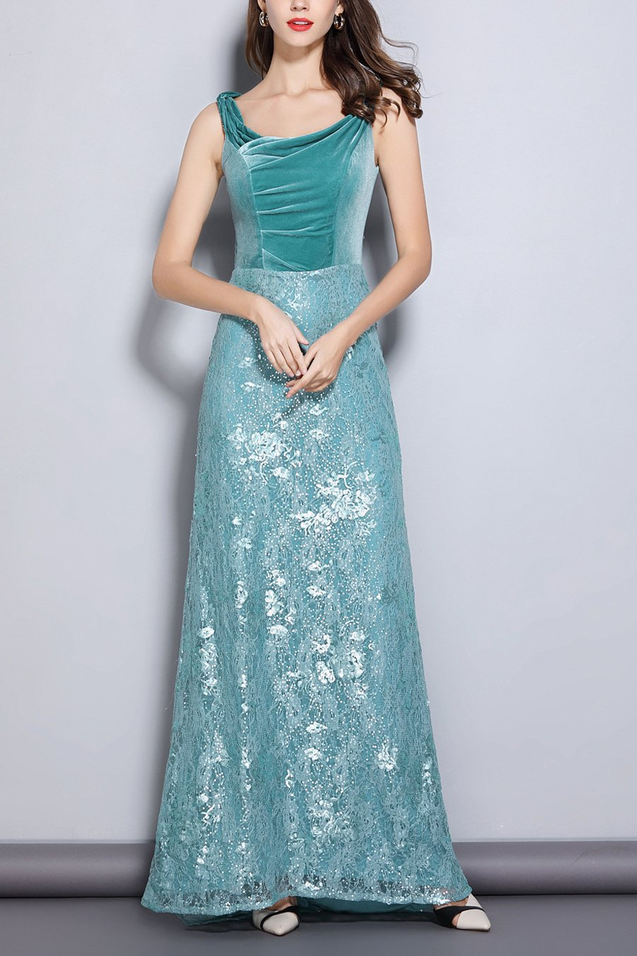 Turquoise Sheath Scoop Neck Lace Velvet Dress