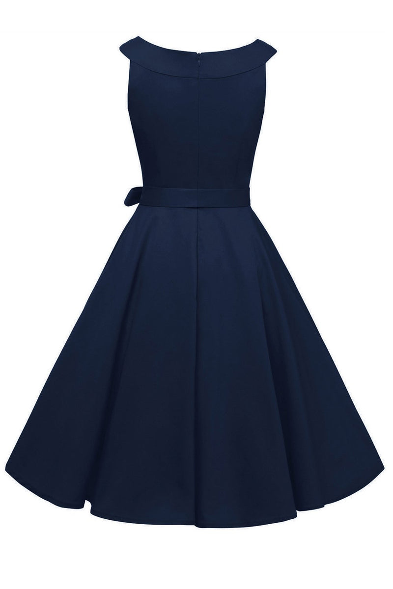 Load image into Gallery viewer, Navy 1950s Dress