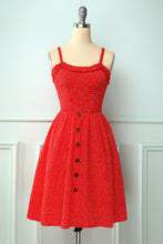 Load image into Gallery viewer, Vintage Red Floral Dress With Button