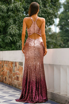 Sequins Halter Prom Formal Dress