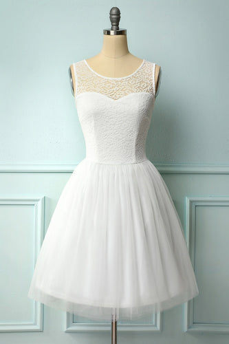 White Lace Graduation Dress