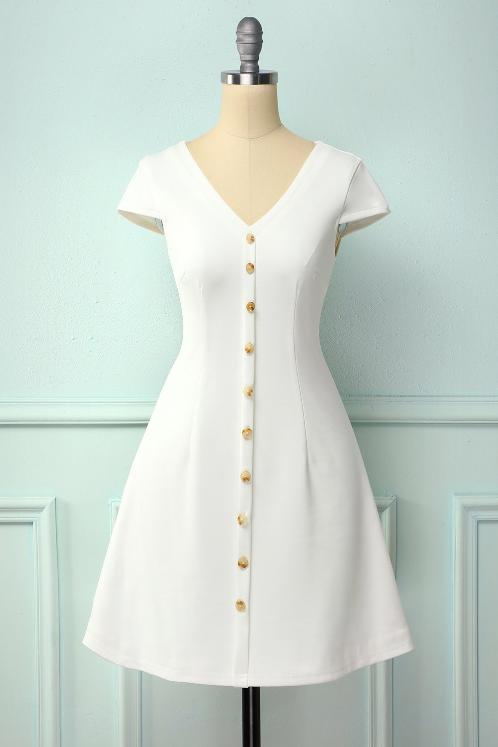 White Button Shift Dress