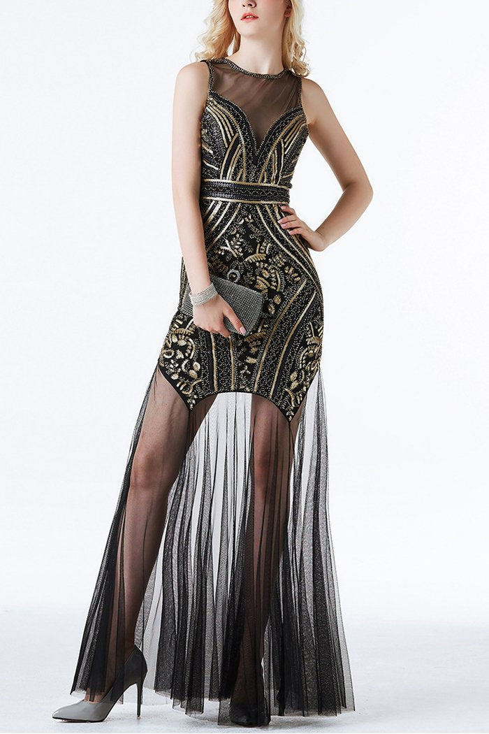 Black and Gold Sequin Long Tulle 1920s Dress