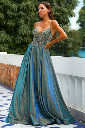 Dark Grey Glitter Spaghetti Straps Long Prom Dress