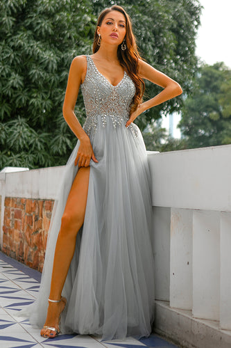 Grey V Neck Beaded Long Formal Dress