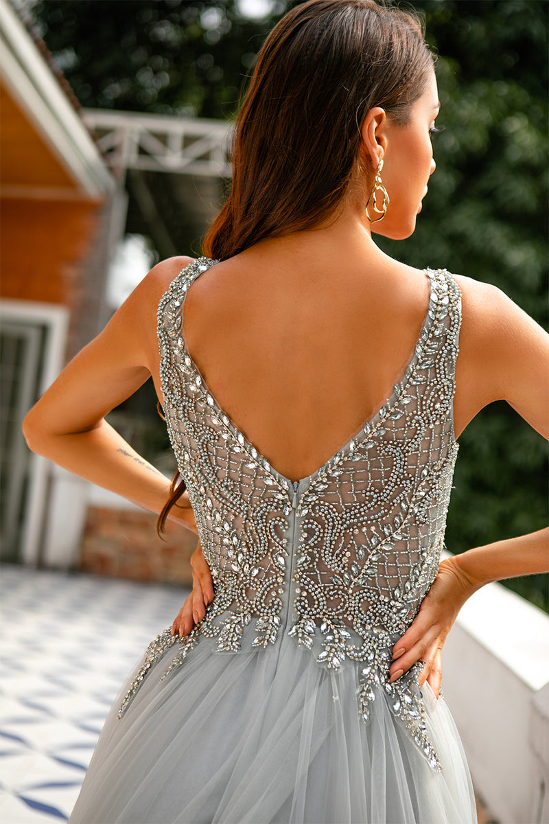 Load image into Gallery viewer, Grey V Neck Beaded Long Formal Dress